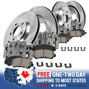 Front And Rear Brake Calipers Rotors Ceramic Pads For 2008 Impreza Wrx