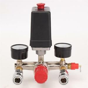 Air Compressor Valve Pressure Control Switch Manifold Regulator With Gauges Tool
