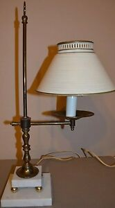 Vtg Toleware Metal Tin Lamp Light Shade Sconces Table Lamp W Italian Marble Base
