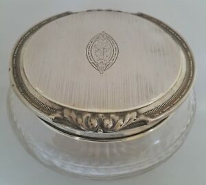 Sterling Silver Lid Abp Cut Etched Glass Bowl Vanity Dresser Powder Jar