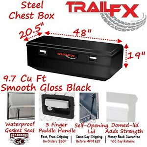 151482s Trailfx 48 Black Steel Truck Bed Chest Tool Box Wedge