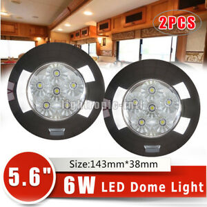 2pcs 6w 5 6 Round Roof Led Interior Lamp Boat Truck Marine Car Dome Light 12v