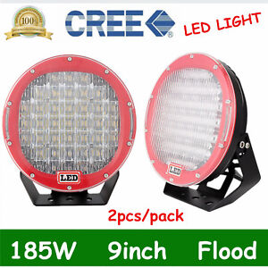 2x 9 185w Cree Led Light Work Flood Driving Lamp Offroad 4x4wd Red Pk 96w 105w