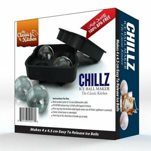 Chillz Ice Ball Maker Mold - Black Flexible Silicone Ice Tray - Molds 4 X 4.5cm