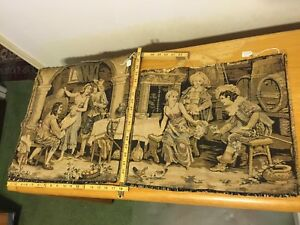 Vintage French Tapestry Lot Of Two 2 Pub Bar Scene Approx 18x18in 15x18in