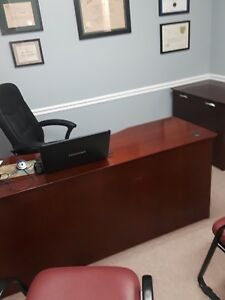 Executive Set Desk Credenza By national Office Furn In Mahogany Color Wood