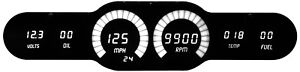 Digital 6 Gauge Universal Dash Panel With Bargraph Sweeps And White Led Gauges