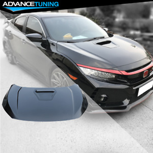 Fits 16 18 Honda Civic Coupe Sedan Hatchback Type R Style Steel Front Hood Black