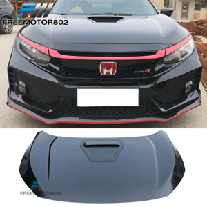 Fits 16 18 Honda Civic 10th Gen Type R Style Front Hood Steel Black