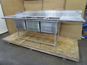 Eagle 9 1 2 X 32 3 Bay Compartment Stainless Sink 28 x 20 x 14 Deep Bowl