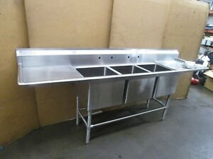 Eagle 9 X27 Stainless 3 Bay Compartment18 x20 x14 Deep Bowl 22 Drain Boards