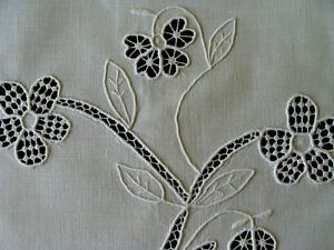 Pristine Antique Pillowcase Pillow Cover Sham Lace Whitework Hand Embroidered
