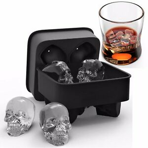 3D ICE Cube Skull Shape Trays Molds Maker Cocktails Whiskey Ball Mould Silicone