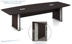 10 Foot Modern Boat Shaped Conference Table With Grommets And Metal Legs