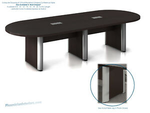 12 Foot Modern Conference Table With Grommets And Metal Legs Espresso Or Walnut