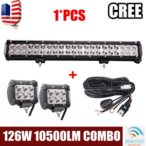 20inch 126w Cree Led Light Bar Spot Flood Work Driving Truck 2x18w Pods Harness