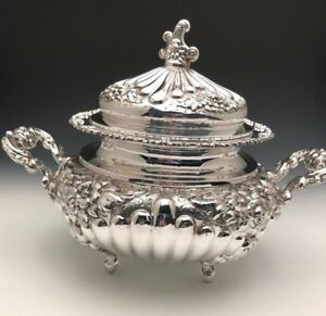 Stunning Italian Sterling Silver Soup Tureen With Lid Very Ornate