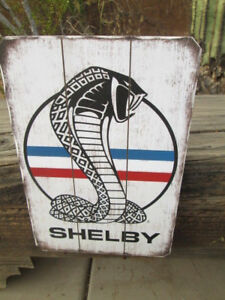 Shelby Cobra Snake Emblem Wood Display Red White Blue Mustang Motor Cool Ford