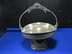 Victorian Silver Brides Basket Handle Rogers Bros Plated Bowl Fist Of Bolts Logo