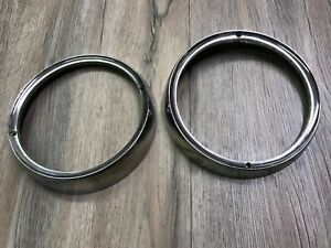 1961 1962 Buick Special Used Gm Chrome Head Light Trim Rings 2 Pcs 1348946
