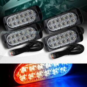 48 Led Red blue Car Emergency Beacon Hazard Warning Flash Strobe Light Universal