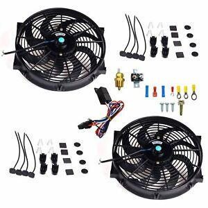 2x 14 Electric Radiator Cooling Fan 3 8 Probe Ground Thermostat Switch Kit Bk