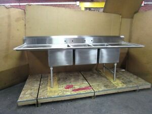 Select Stainless 9 4 112 x32 3 Bay Compartment 28 x20 x14 Deep Bowl Sink