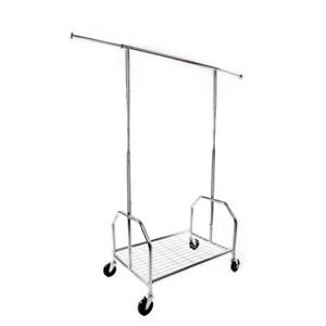 Single Commercial Heavy Duty Cloth Rolling Garment Mesh Rack Hanger