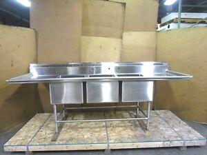 Stainless S s 9 4 112 x32 3 Bay Compartment 28 x20 x14 Deep Bowl Sink