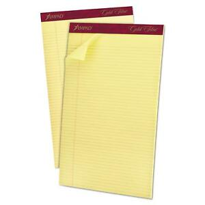 Ampad 20034 Gold Fibre Pads 8 1 2 X 14 Canary 50 Sheets pack Of 12