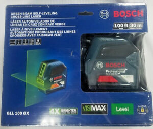 New Bosch Gll 100 Gx Green Beam Self leveling Cross Line Laser 100ft Sealed