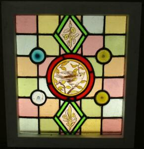 Victorian English Leaded Stained Glass Window Handpainted Bird 17 X 18 75