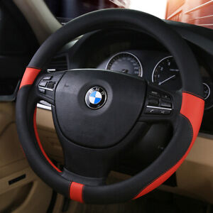 Synthetic Leather Car Auto Steering Wheel Cover Case 38cm Beige For Bmw Ford