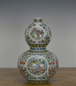 Fine Chinese Doucai Dragon Double Gourd Porcelain Vase