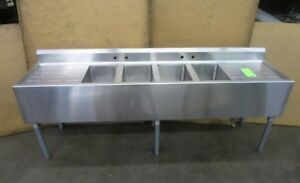 Select 82 x20 x34 Stainless 4 Bay Bowl Compartment Commercial Wash Bar Sink