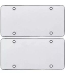 Flat Clear License Plate Cover 2 Pack Of Heavy Duty Shields