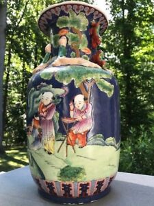 Chinese Large Famille Porcelain Vase With Beauty And Flowers 14