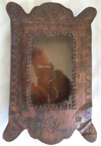 Antique Country Primitive Small Tin Tole Wall Shadow Box