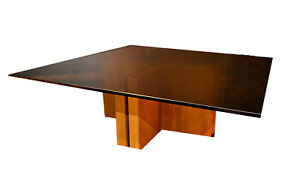 Low Profile Mid Century Smoked Glass Adjustable Base Coffee Table