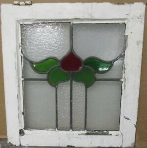 Old English Leaded Stained Glass Window Pretty Abstract Floral Design 17 X 18