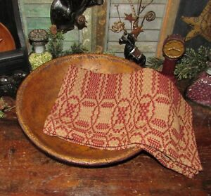 Prim Antique Vtg Style Shaker Cross Red Tan Cotton Woven Coverlet Runner Aq76sr