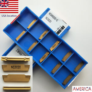 Us 10pcs Mgmn200 g Nc3020 2mm Wide Grooving Insert Carbide Blade For Steel