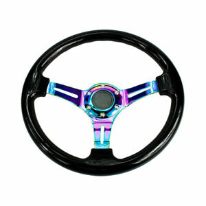 Car Racing Steering Wheel 350mm Abs Deep Dish 14 Drifting Neo Chrome Black