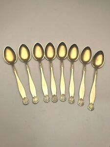 Set Of 8 Silver Demitasse Spoons Sol Sun Pattern By Hans Hohle Norway 830s
