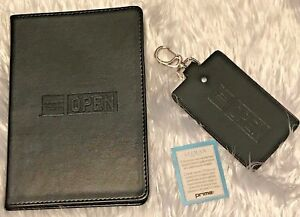 American Express Open Journal Note Book Leeman Prime Leather Luggage Tag Black