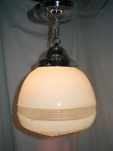 Antique Vtg Chrome Ceiling Light Fixture Art Deco 30s Industrial Laundry Bath