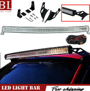 50 Curved Led Light Bar Combo Roof Upper Bracket Kit For 2004 2014 Ford F150