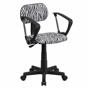 Black Fabric Metal And Nylon Zebra Print Swivel Adjustable Office Chair