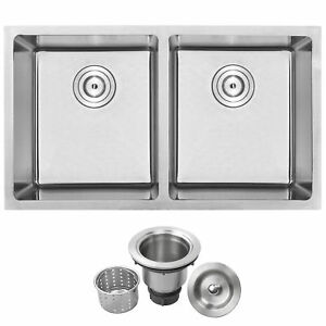 Phoenix Plz 15 Stainless Steel Double Bowl Undermount Square Kitchen Bar Sink