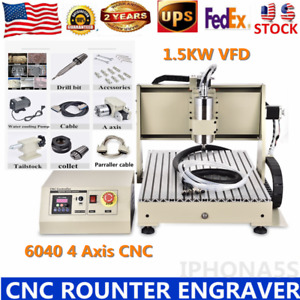 4axis Cnc 6040 Router Engraver 1500w Vfd Spindle Motor Wood metal Cutter Machine